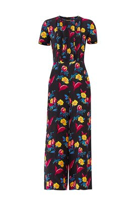 328884daf7a Black Floral Wide Leg Jumpsuit by Diane von Furstenberg for  75 ...