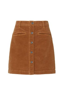 Brown Corduroy Button Front Skirt by 7 For All Mankind