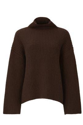 Brown Oversized Bell Sleeve Sweater by Sweet Baby Jamie