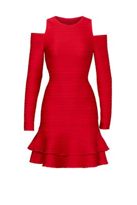 Red Ottoman Jacquard Dress by Shoshanna