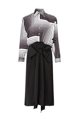 Zig Zag Bow Front Shirtdress by Tome