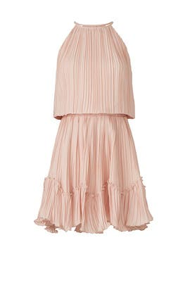 Pleated Blouson Dress by HALSTON