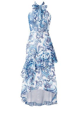 Blue Printed Flounce Halter Dress by Theia