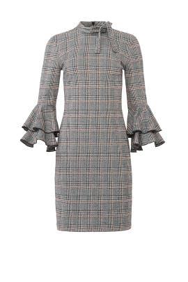 Plaid Ruffle Sleeve Dress by Alexia Admor