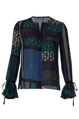 Geo Print Bell Sleeve Blouse by Derek Lam 10 Crosby