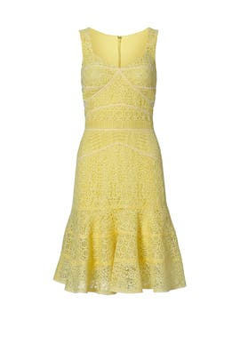 Yellow Lace Sweetheart Dress by J. Mendel