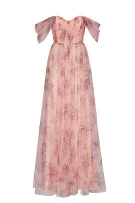 Blush Floral Tulle Gown by Marchesa Notte Bridesmaid