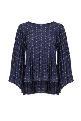Mixed Blue Floral Top by Nicole Miller