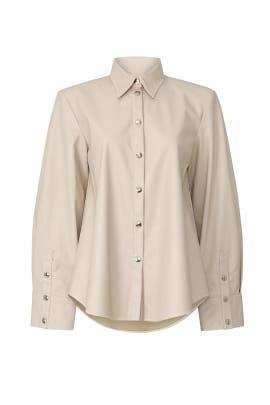 Basic Faux Leather Shirt by Sara Battaglia
