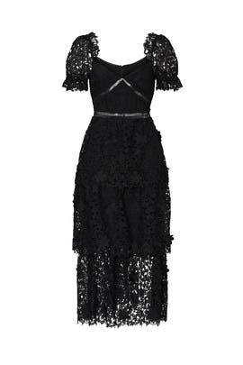 Black 3D Lace Tier Dress by Self-portrait