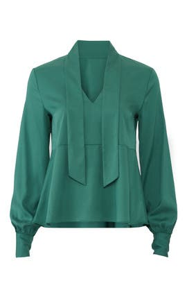 Emerald Tie Neck Blouse by Becken
