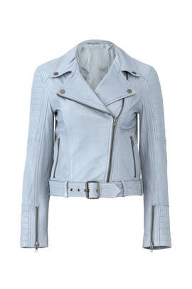 Blue Izadora Leather Jacket by cupcakes and cashmere