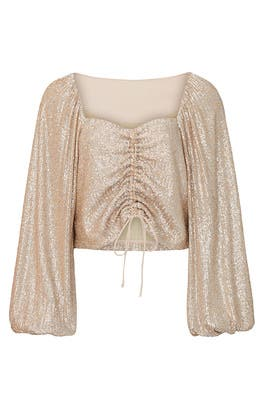 Sequin Ruched Front Top by Jonathan Simkhai