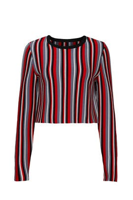 Striped Cropped Sweater by Victor Glemaud