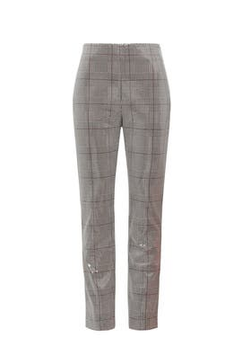 Sequin Plaid Slim Ankle Pants by Badgley Mischka
