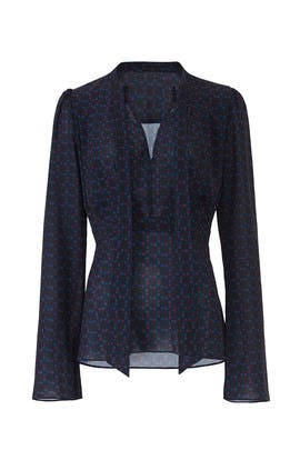 Blue Print Tie Neck Blouse by Derek Lam Collective