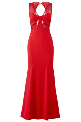 Red Insert Lace Gown by LM Collection