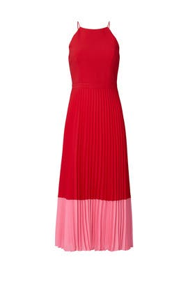 Pleated Colorblock Midi Dress by Aidan AIDAN MATTOX