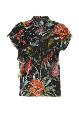 Floral Side Ruffle Blouse by Fuzzi