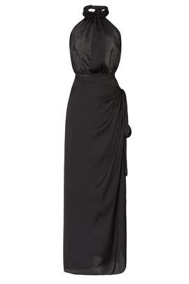 Black Halter Wrap Dress by Juan Carlos Obando