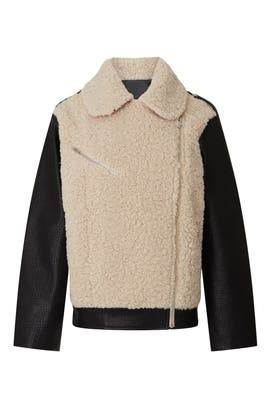 Faux Shearling Moto Jacket by Peter Som Collective