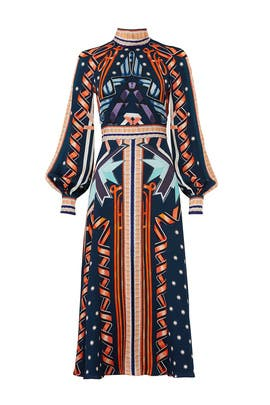 Petrol Ribbon Midi Dress by Temperley London