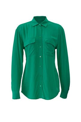 Green Slim Signature Shirt by Equipment