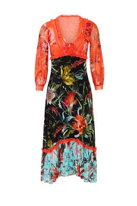 Floral Patchwork Midi Dress by Fuzzi