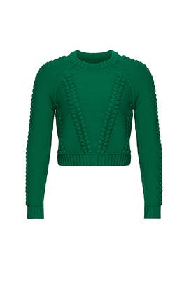 Green Crop Sweater by Milly