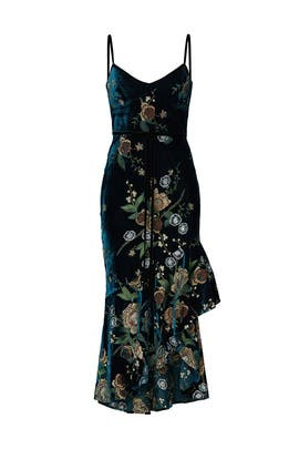 Embroidered Velvet High Low Dress by Marchesa Notte