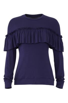 Navy Ruffle Sweatshirt by Slate & Willow