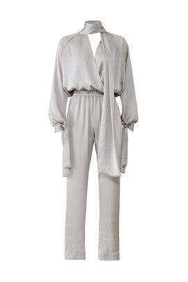 Silver Draped Jumpsuit by Juan Carlos Obando