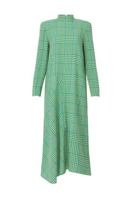 Sterling Plaid Gauze Mockneck Dress by Tibi