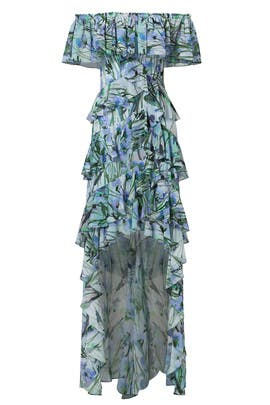 Blue Multi Printed High Low Maxi by Badgley Mischka