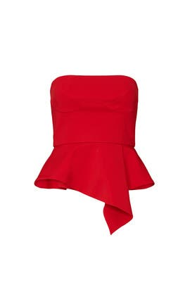 Red Strapless Peplum Top by Cushnie