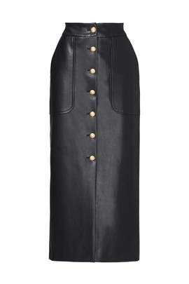 Black Faux Leather Button Skirt by Harvey Faircloth