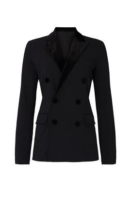 Black Velvet Trim Blazer by Lauren Ralph Lauren