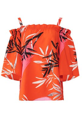 Red Leaf Print Top by N Natori