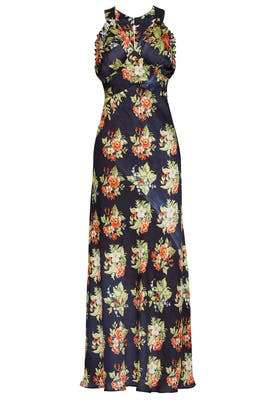 Black Rose Printed Maxi by Paco Rabanne