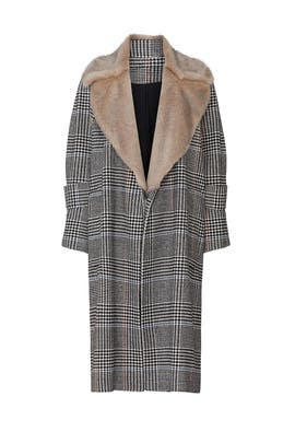 Plaid Faux Fur Collared Coat by Victor Alfaro Collective