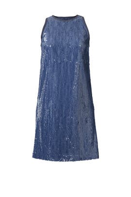 Denim Sequin Shift by Carmen Marc Valvo