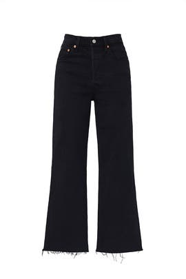 Black Ribcage Crop Flare Jeans by Levi's
