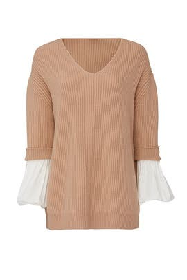 Poplin Sleeve V-Neck Sweater by (nude)