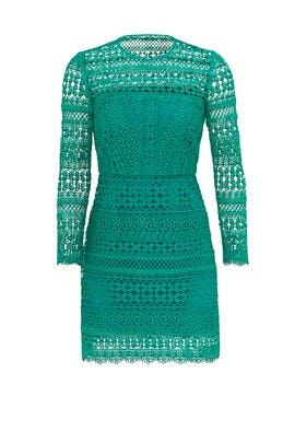 Emerald Pattern Lace Sheath by Cynthia Rowley