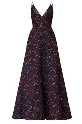 V-Neck Floral Jacquard Gown by ML Monique Lhuillier