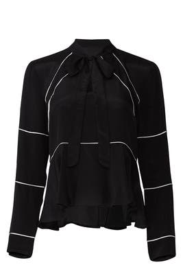 Solid Piping Tie Blouse by Nicole Miller