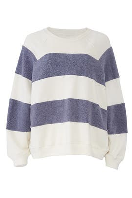 Sherpa Stripe Slouch Sweatshirt by The Great.