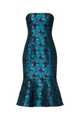 Teal Strapless Jacquard Dress by Aidan AIDAN MATTOX