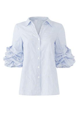 Ruffle Sleeve Button Down by Badgley Mischka