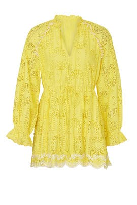 Yellow Eyelet Dress by Hemant & Nandita
